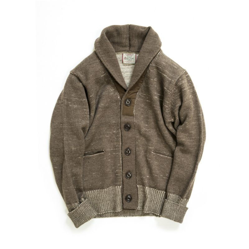 画像1: COMPOUNDED SHAWL COLLAR  KNIT CARDIGAN〈BROWN〉 (1)